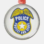 Police Protect and Serve Badge Christmas Ornaments
