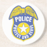 Police Protect and Serve Badge Coasters