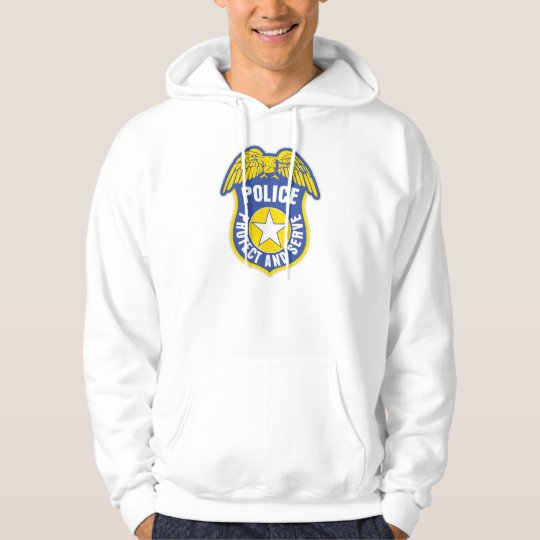 Police Protect and Serve Badge Hoodie