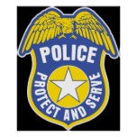 Police Protect and Serve Badge Posters