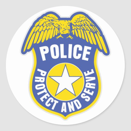 Police Protect and Serve Badge Round Stickers