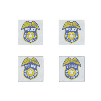 Police Protect and Serve Badge Stone Magnet