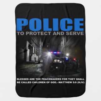 Police Protect And Serve Blue Lives Matter Baby Buggy Blankets