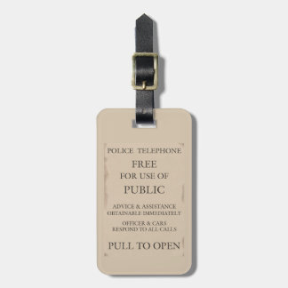Police Public Call Phone Box Notice Bag Tag
