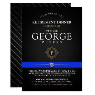 Police Retirement Dinner Monogram Black Invite