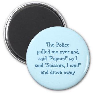 Police Rock Paper Scissors Funny Fridge Magnet