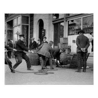 Police Seizing Bootleg Liquor, 1923. Vintage Photo Poster