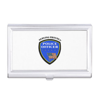 Police Serving Proudly Business Card Holder