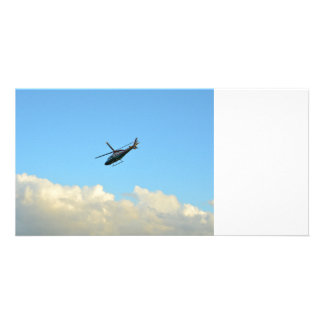 police sheriff helicopter in blue florida sky photo card template
