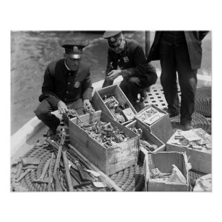 Police Show Gun Stash, 1923. Vintage Photo Poster
