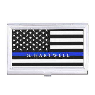 Police Styled American Flag Custom Name Business Card Holder