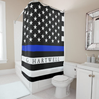 Police Styled American Flag Custom Name Shower Curtain