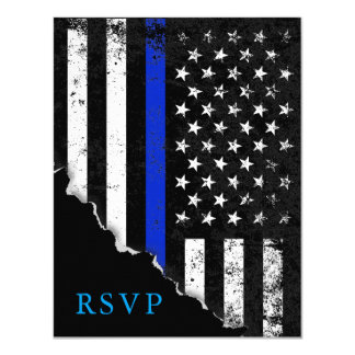 Police Styled American Flag RSVP Reply Card