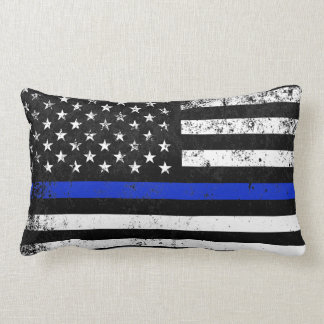 Police Styled Distressed American Flag Lumbar Cushion