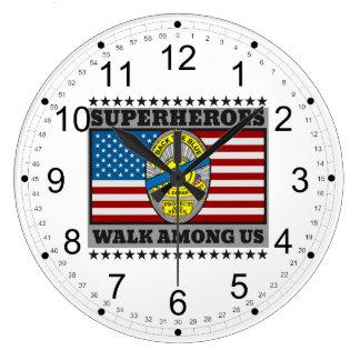 Police Superheroes Walk Among Us Large Clock