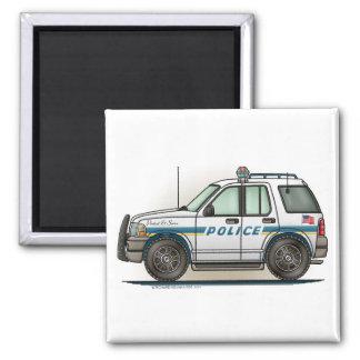 Police SUV Cruiser Car Cop Car Square Magnet