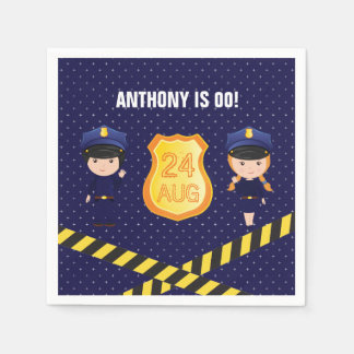 Police themed Birthday Party personalized Paper Napkins