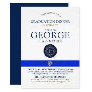 Police Themed Event   Dinner Monogram Invitation