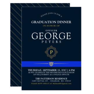 Police Themed Event   Dinner Monogram Navy Invite