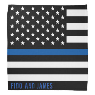 Police Thin Blue Line American Flag Add Name Bandana