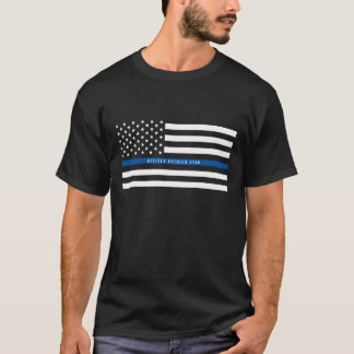 Police Thin Blue Line American Flag Add Name T-Shirt
