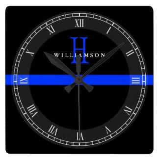 Police Thin Blue Line Custom Monogram Wall Clocks