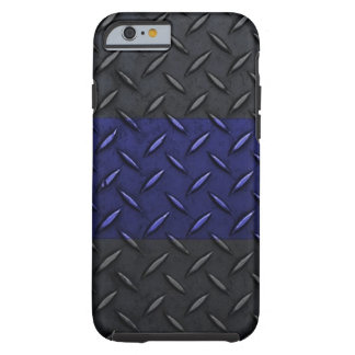 Police Thin Blue Line Diamond Plate Design Tough iPhone 6 Case