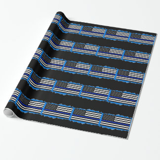 Police Thin Blue Line Flag Torn Out Look Blue Wrapping Paper