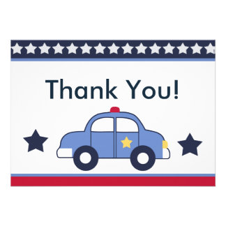 Police Vehicle Cop Car Hero Thank You Cards