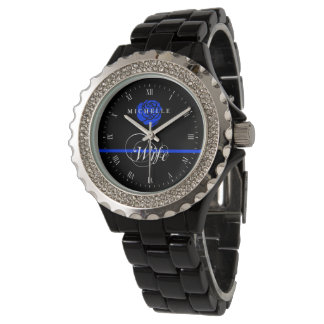 Police Wife Thin Blue Line Rose Custom Name Watch