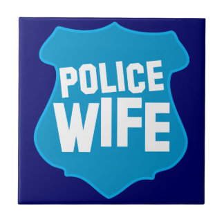 Police WIFE with officers badge shield Tiles