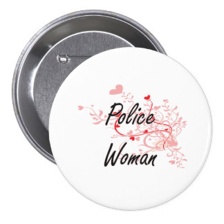 Police Woman Artistic Job Design with Hearts 7.5 Cm Round Badge
