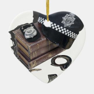PoliceCrimeBooksHatBadgeHandcuffs042113.png Ceramic Ornament