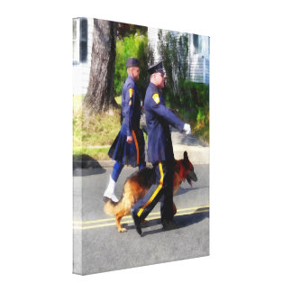 Policeman and Police Dog in Parade Stretched Canvas Prints