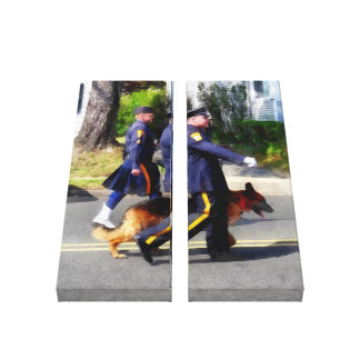 Policeman and Police Dog in Parade Gallery Wrapped Canvas