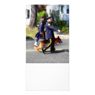 Policeman and Police Dog in Parade Photo Card