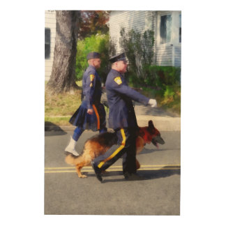 Policeman and Police Dog in Parade Wood Print