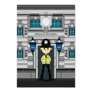 Policeman and Police Station RSVP Card 9 Cm X 13 Cm Invitation Card
