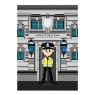Policeman and Police Station RSVP Card Announcement