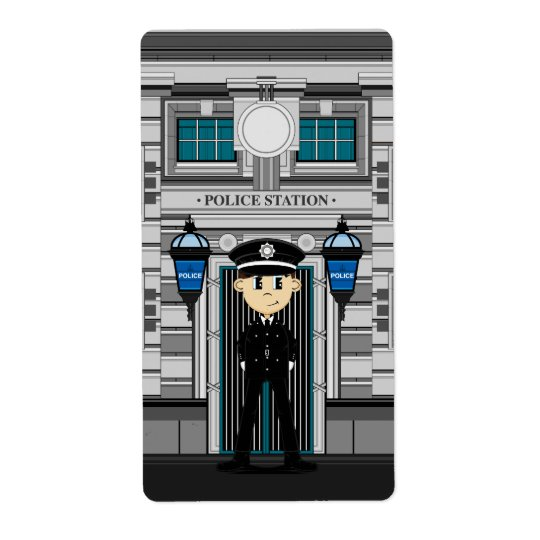 Policeman and Police Station Sticker Shipping Label