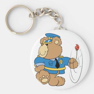 Policeman Cop Bear Basic Round Button Key Ring