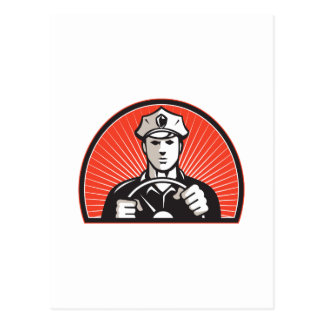 Policeman Driver Driving Steering Wheel Postcard
