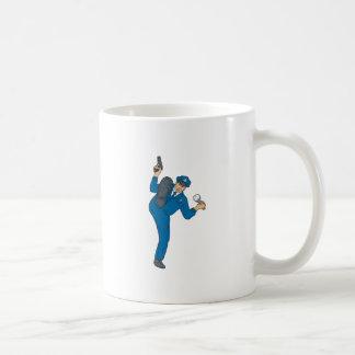 Policeman Gun Flashlight Torch Kicking Drawing Coffee Mug