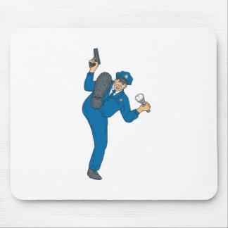 Policeman Gun Flashlight Torch Kicking Drawing Mouse Pad