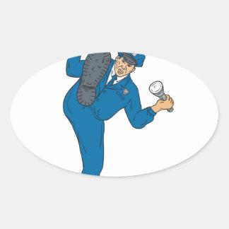 Policeman Gun Flashlight Torch Kicking Drawing Oval Sticker