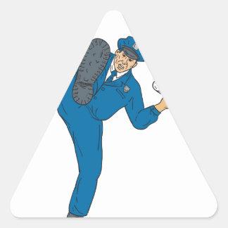 Policeman Gun Flashlight Torch Kicking Drawing Triangle Sticker
