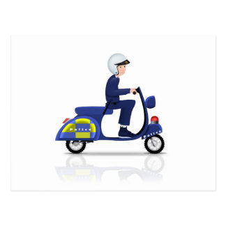 Policeman on Scooter Postcard