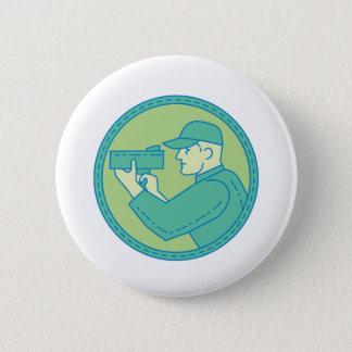 Policeman Speed Radar Gun Circle Mono Line 6 Cm Round Badge