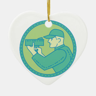 Policeman Speed Radar Gun Circle Mono Line Ceramic Ornament