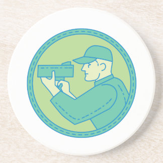 Policeman Speed Radar Gun Circle Mono Line Coaster